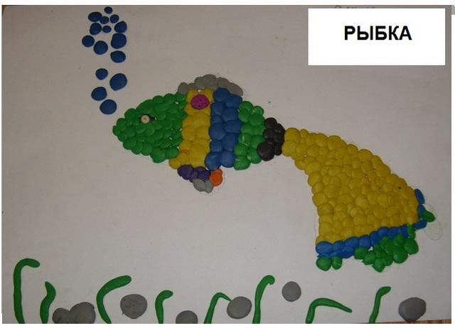 Картина из пластилина Рыбка