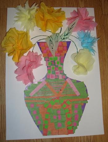 Поделки аппликации из бумаги и салфеток - ваза с цветами