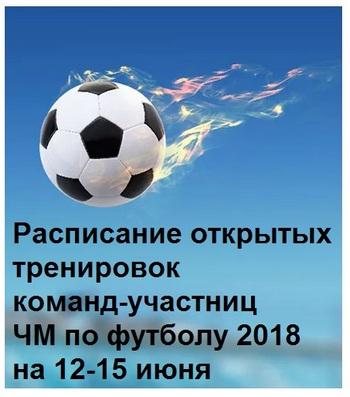 Расписание открытых тренировок команд-участниц ЧМ по футболу 2018 на 12-15 июня