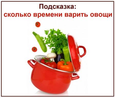 Подсказка сколько времени варить овощи