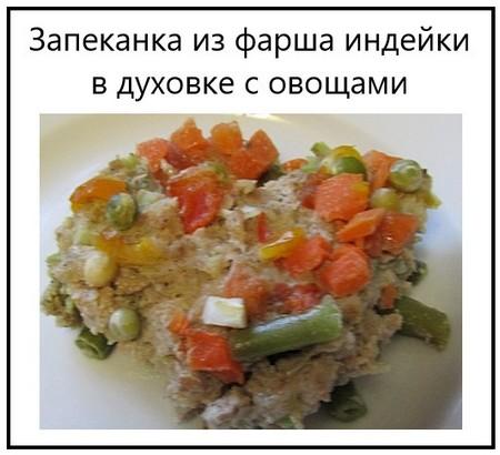 Запеканка из фарша индейки в духовке с овощами